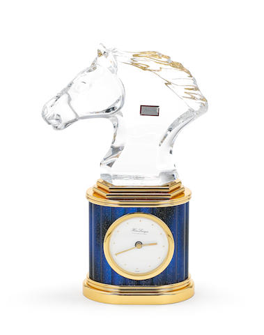 A French gold plated metal and Baccarat glass timepiece, by Hour Lavigne, 1996,