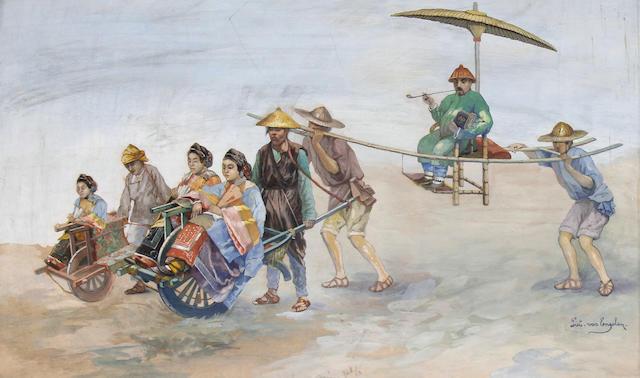Piet van Engelen (Belgian, 1863-1924) Chinese travellers