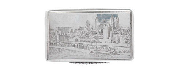 ASPREY: A silver 'Tower of London' snuff box London 1940