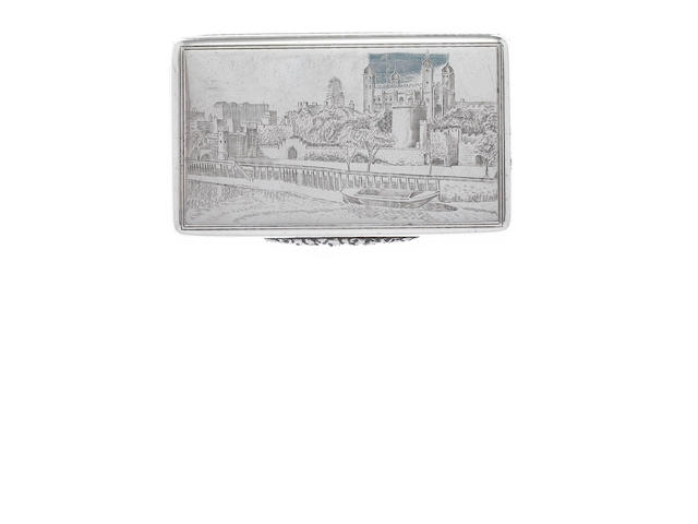 ASPREY: A  silver 'Tower of London' snuff box, by Asprey & Co. Ltd, London 1940,