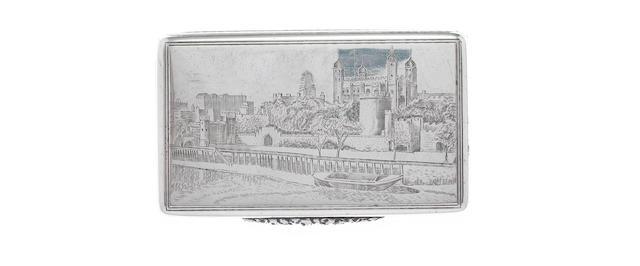 ASPREY: A  silver 'Tower of London' snuff box, by Asprey & Co. Ltd, London 1940,