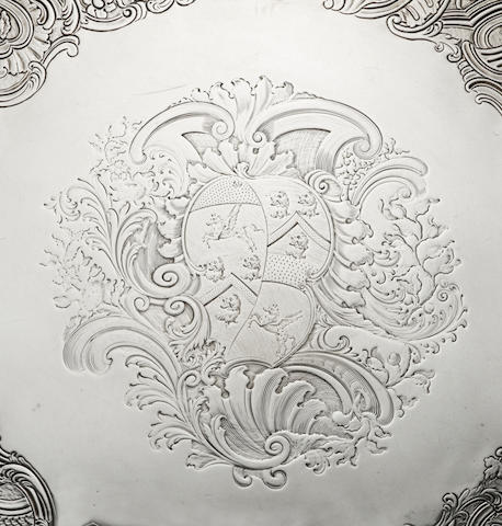 A George II Irish silver salver, by Robert Calderwood, Dublin 1745,