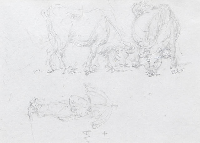 George Chinnery, RHA  (British, 1774-1852) Study of two cows and a figure carrying an umbrella. Together with a sketch of two shacks. (2)