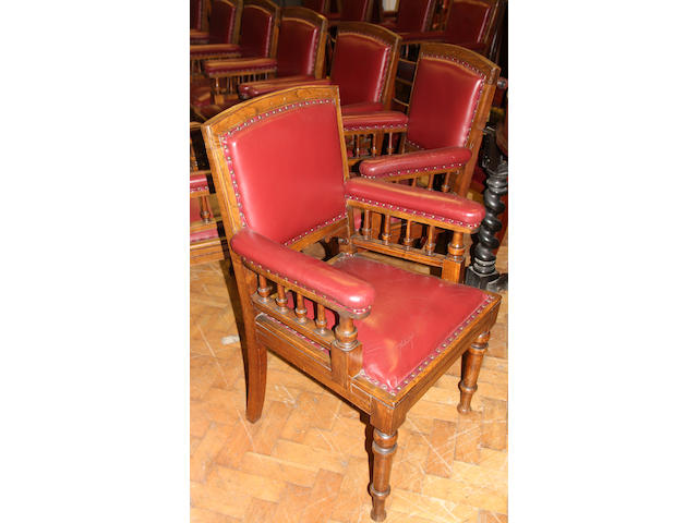 A set of 10 carved oak open armchairs Circa 1900