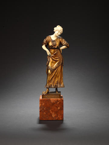 Ferdinand Preiss 'Carmen' bronze and ivory figure