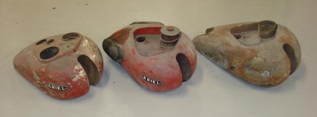 Three Ariel petrol tanks,