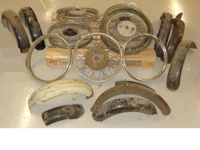 Ariel mudguards and wheels,