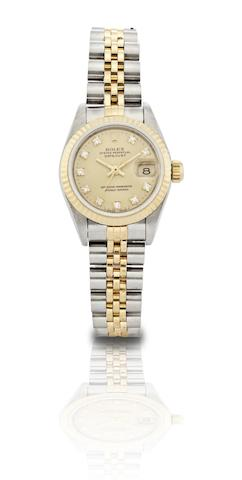 Rolex. A fine stainless steel, 18ct gold and diamond set centre seconds calendar lady's automatic bracelet watch Oyster Perpetual Datejust, Ref:69173, Case No.S582136, Circa 1993