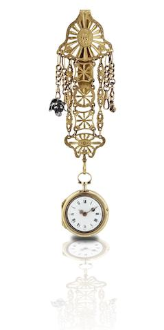 A vintage chatelaine pocket watch with enamel decoration Circa 18th century