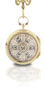 A vintage chatelaine pocket watch with enamel decorationCirca 18th century