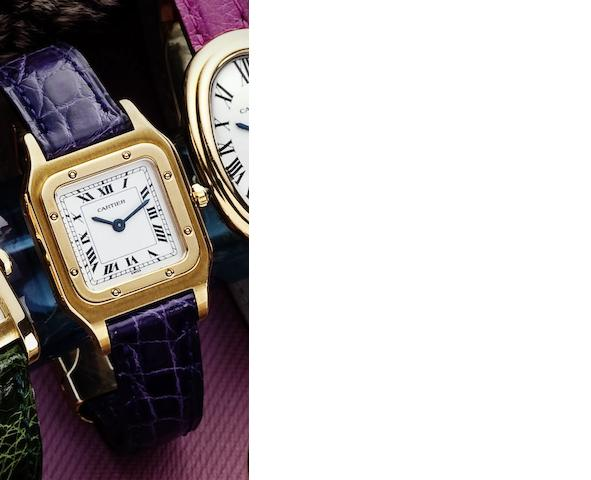 Cartier. A fine 18ct gold lady's manual wind wristwatchSantos, Case No.960620510, Circa 1985