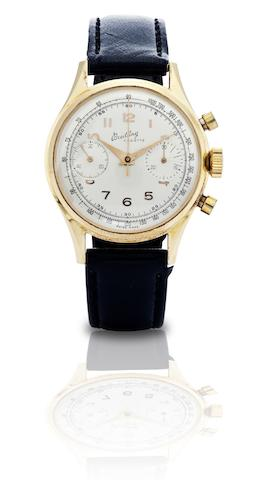 Breitling. A stainless steel and 18ct gold chronograph manual wind wristwatch Cadette, Ref:1191, Case No.787533, Circa 1950