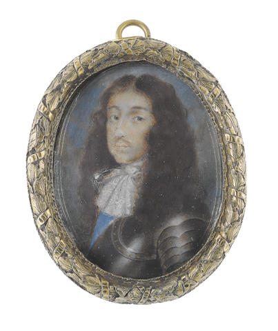 English School, 17th Century Henry Stuart, 1st Duke of Gloucester (1640–1660), wearing suit of armour, white lace jabot and the blue sash of the Order of the Garter, his natural hair worn loose