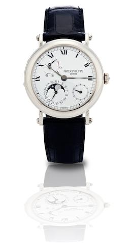 Patek Philippe. A fine 18ct white gold calendar automatic wristwatch with moon phase and power reserveRef:5054G, Case No.4116700, Movement No.3165646, Circa 2008