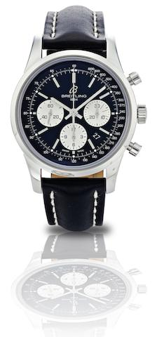Breitling. A fine limited edition stainless steel chronograph calendar automatic wristwatch Transocean Chronographe, Ref:AB0151, No.187/2000, Case No.3035185, Circa 2010
