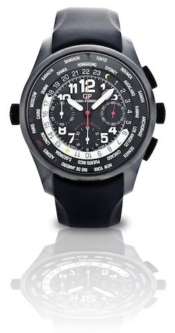 Girard-Perregaux. A fine ceramic and titanium fly-back chronograph automatic wristwatch with world timeWW.TC.Shadow. Ref:49820, Case No.193, Circa 2008