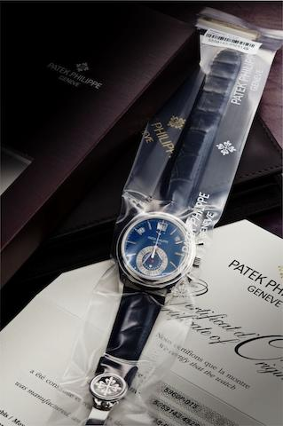 Patek Philippe. A fine PT950 platinum annual calendar chronograph automatic wristwatch Ref:5960P, Case No.4525149, Movement No.5559143, Sold in 2011