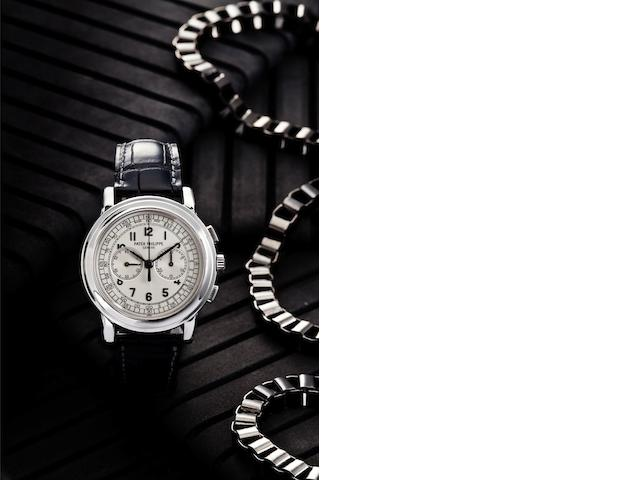 Patek Philippe. A fine and rare 18ct white gold manual wind chronograph wristwatch Ref:5070, Case No.4387985, Movement No.3363232, Sold April 2007