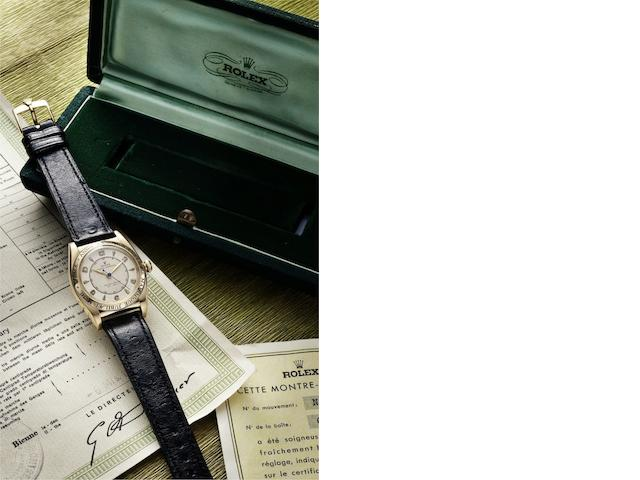 Rolex. A very rare and fine 18k gold chronometer automatic wristwatch, commemorating the sacred Catholic Grand Jubilee year Oyster Perpetual, Anno Sancto, Ref:4777, Case No.614129, Movement No.67501, Made in 1948