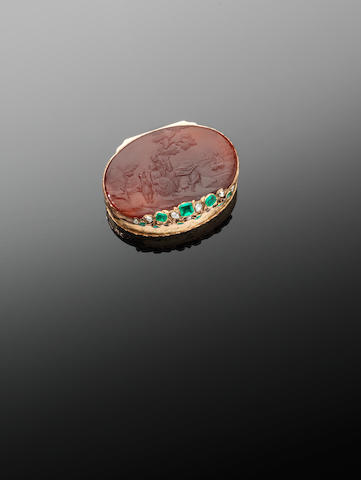 A 19th century German diamond- and emerald-set vari-coloured gold oval snuff box, probably German,