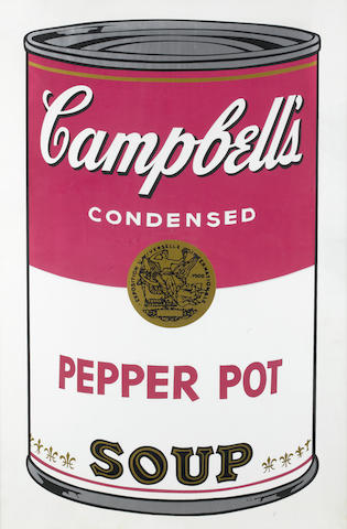 Andy Warhol (American, 1928-1987) Campbell's Soup I: Pepper Pot Screenprint, 1968, printed in colours, on wove, signed in ball point pen and numbered with a rubber stamp from an edition of 250 verso, (26 AP), printed by Salvatore Silkscreen Co.Inc., New York, published by Factory Additions, New York, 880 x 580mm (34 5/8 x 22 7/8in)(SH)
