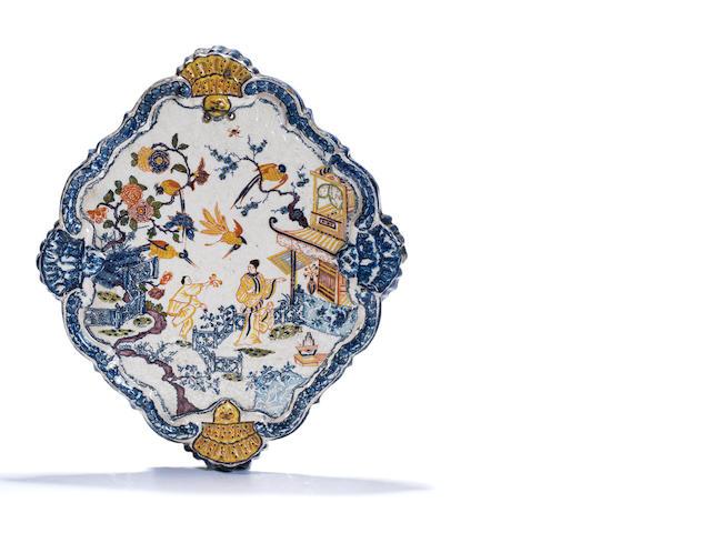 A Dutch Delft polychrome plaque, circa 1720