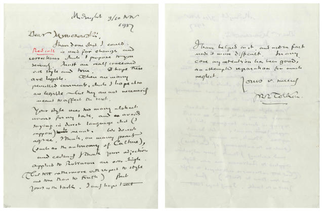 TOLKIEN (J.R.R.) Autograph notes and heavily revised typescript with accompanying autograph letter about a review of Robinson's edition of Chaucer, 1957