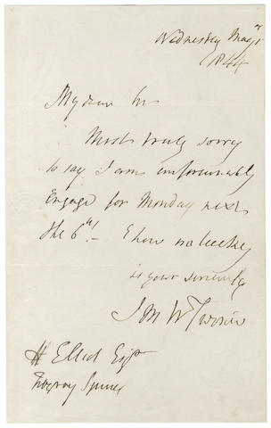 TURNER (JOSEPH MALLORD WILLIAM) Autograph letter signed, 1844