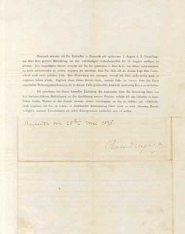 WAGNER (RICHARD) Printed letter signed, making arrangements for the première of 'Der Ring des Nibelungen', 1875