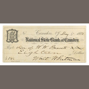 WHITMAN (WALT) Autograph cheque signed, 1888