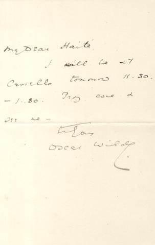 WILDE (OSCAR) Autograph letter signed, to George Haité, [c.1887-1889]