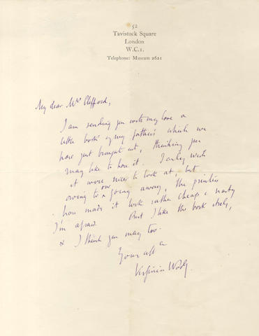 WOOLF (VIRGINIA) Autograph letter signed, [1924]