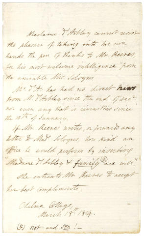 BURNEY (FANNY)  Autograph letter in the third person, as Madame d'Arblay, 1814