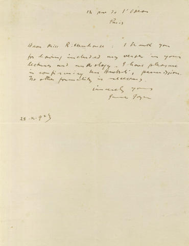 JOYCE (JAMES) Autograph letter signed, 1923