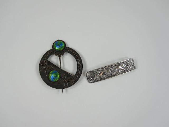 Two Alexander Rithcie, Iona  silver brooch and another