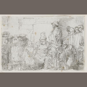 Rembrandt Harmensz van Rijn (Dutch, 1606-1669) Christ seated disputing with the doctors Etching, 1654, second state, before the diagonal scratch beside the face of the standing man, on laid, trimmed to the platemark, 95 x 145mm (3 3/4 x 5 3/4in)(PL)