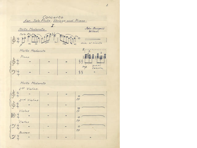 BURGESS (ANTHONY) Autograph manuscript of his Concerto for Flute, Strings and Piano in D Minor, 1951