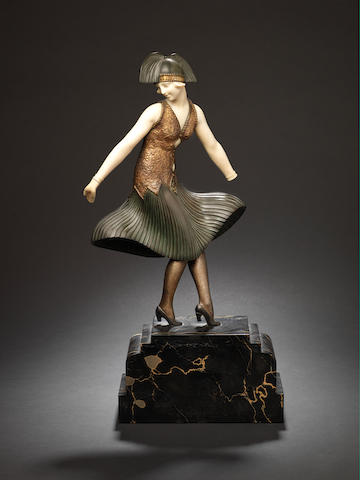 Demetre Chiparus a Painated Bronze and Carved Ivory Study of a Dancer from the Ballet Russe