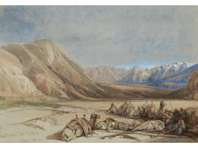 David Roberts, RA (British, 1796-1864) The approach to Mount Sinai