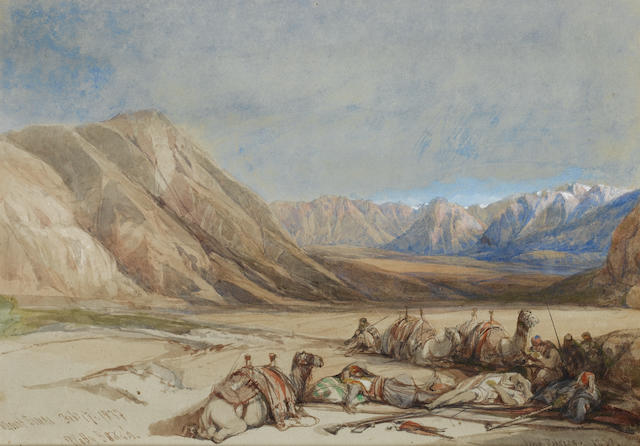 David Roberts, RA (British, 1796-1864) Approach to Mount Sinai