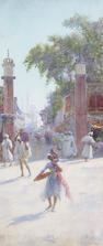 Alfred Edward Emslie, ARWS (British, 1848-1918) An Indian street scene