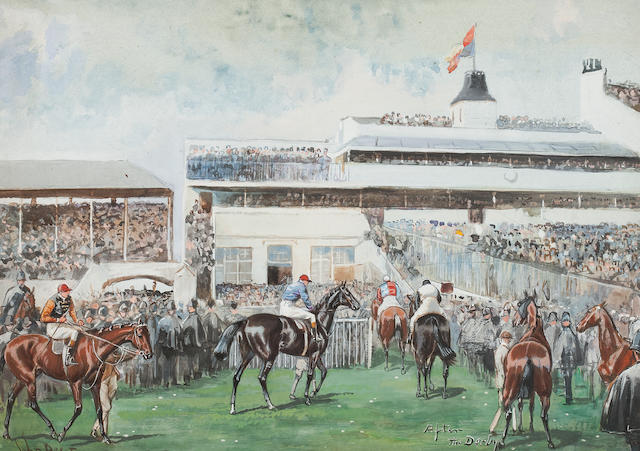 John Beer (British, active 1895-1915) 'Tattenham Corner The Derby 1902'