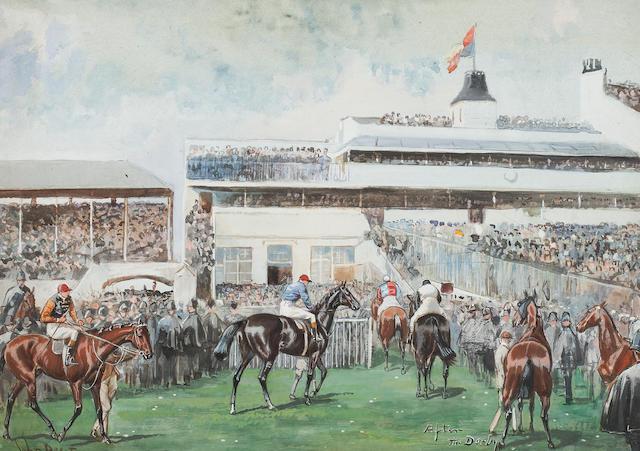 John Beer (British, active 1895-1915) 'Tattenham Corner The Derby 1902'
