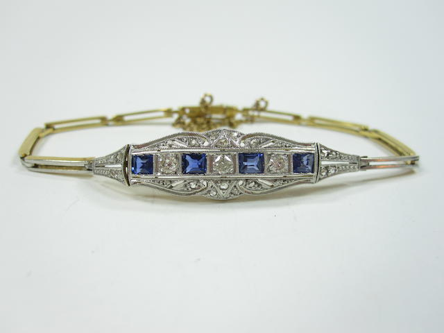 An Edwardian sapphire and diamond bracelet