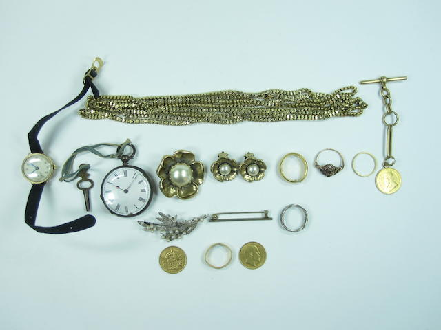 A collection of watches, jewellery and coins
