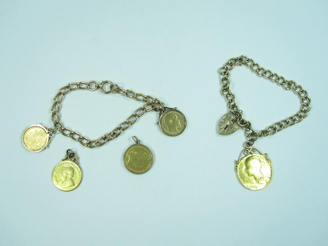 Two 9ct gold bracelets with 5 various coins