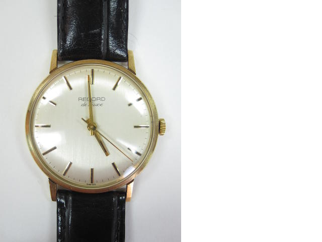 A 9ct gold Record de Luxe wristwatch