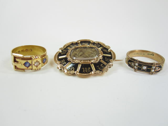 A mourning brooch and ring and a gem-set buckle ring