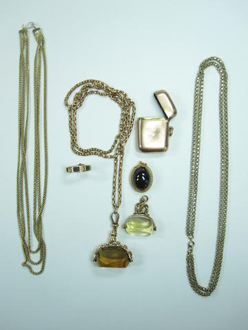 A collection of jewellery including 2 chains, 1 vesta, 2 studs, 1 Albert watch chain with citrine fob, 1 garnet pendant, 1 signet ring and 1 citrine fob