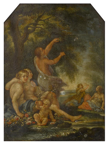 Filippo Lauri (Rome 1623-1694) Spring: Nymphs and a cherub by a woodland stream